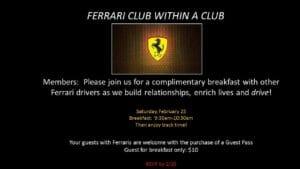 ferrari club 300x169 - February 25, 2017 - Ferrari Club within a Club